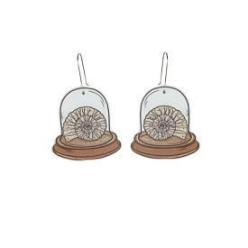 Ammonite Fossil Dangle Earrings - Busy Head