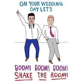 On Your Wedding Day Let's Boom Shake the Room Men Greeting Card