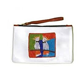 Leather Clutch with Wrist Strap - Sulphur Crested Cockatoos