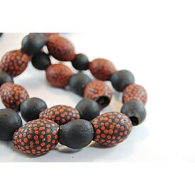 Hand-Painted Gum Nut Necklace (Red Dots)