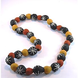 Hand-Painted Gum Nut Necklace (Red Yellow White Dots)