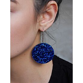 Electric Blue Full Moon Drop Earrings