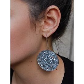 Silver Glitter Full Moon Drop Earrings