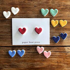 Paper Boat Press Heart Stud Earrings