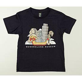 Monumental Wonders Navy Kids Shirt