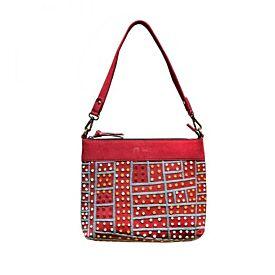 Embroidered Leather Handbag - Shorty Jangala Robertson