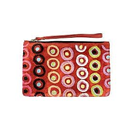 Leather Clutch with Wrist Strap - Walka-Tjulpun Tjulpunpa